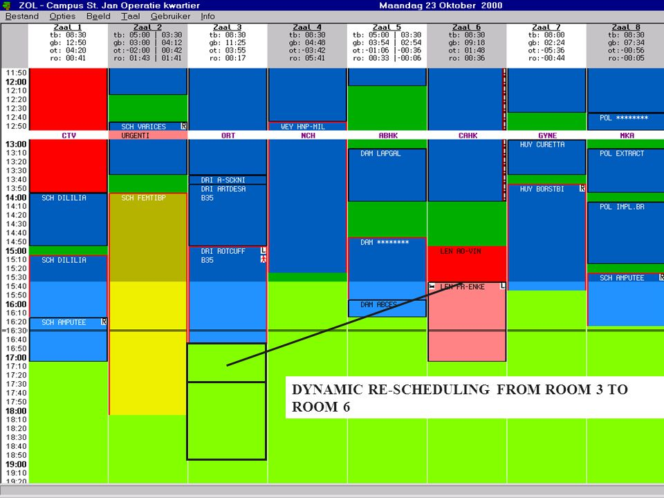 DYNAMIC RE-SCHEDULING FROM ROOM 3 TO ROOM 6