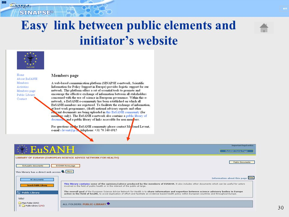 30 Easy link between public elements and initiator's website
