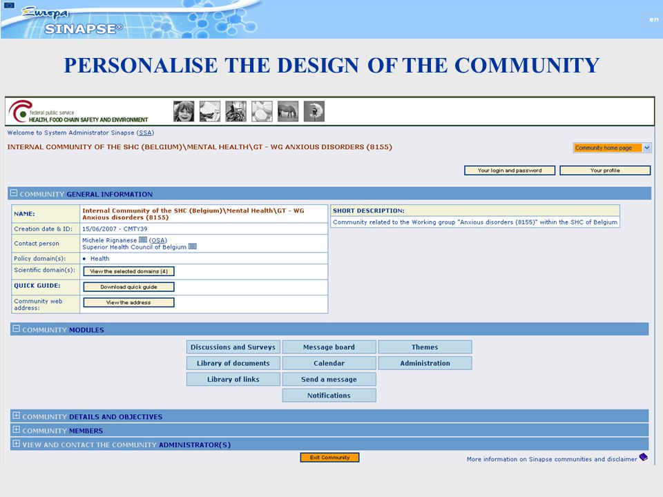 PERSONALISE THE DESIGN OF THE COMMUNITY