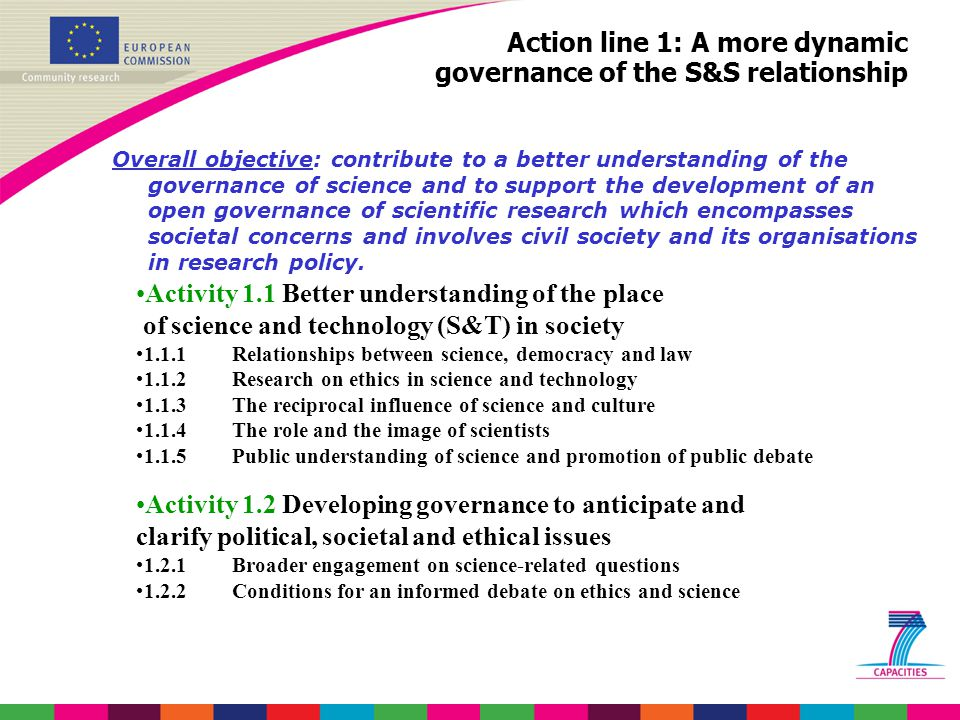 Action line 1: A more dynamic governance of the S&S relationship Overall objective: contribute to a better understanding of the governance of science and to support the development of an open governance of scientific research which encompasses societal concerns and involves civil society and its organisations in research policy.