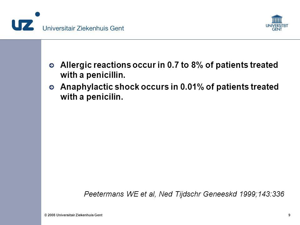 20 © 2008 Universitair Ziekenhuis Gent If cephalosporins are contra-indicated, CDC guidelines recommend either vancomycin or clindamycin.
