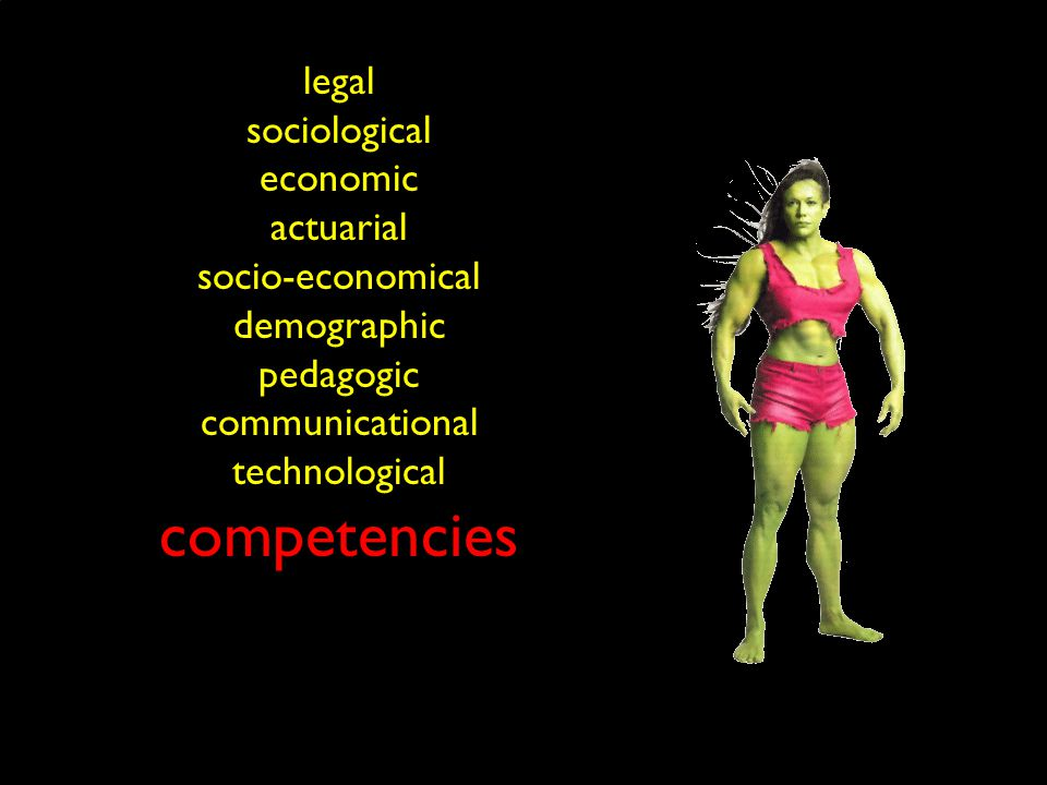 legal sociological economic actuarial socio-economical demographic pedagogic communicational technological competencies