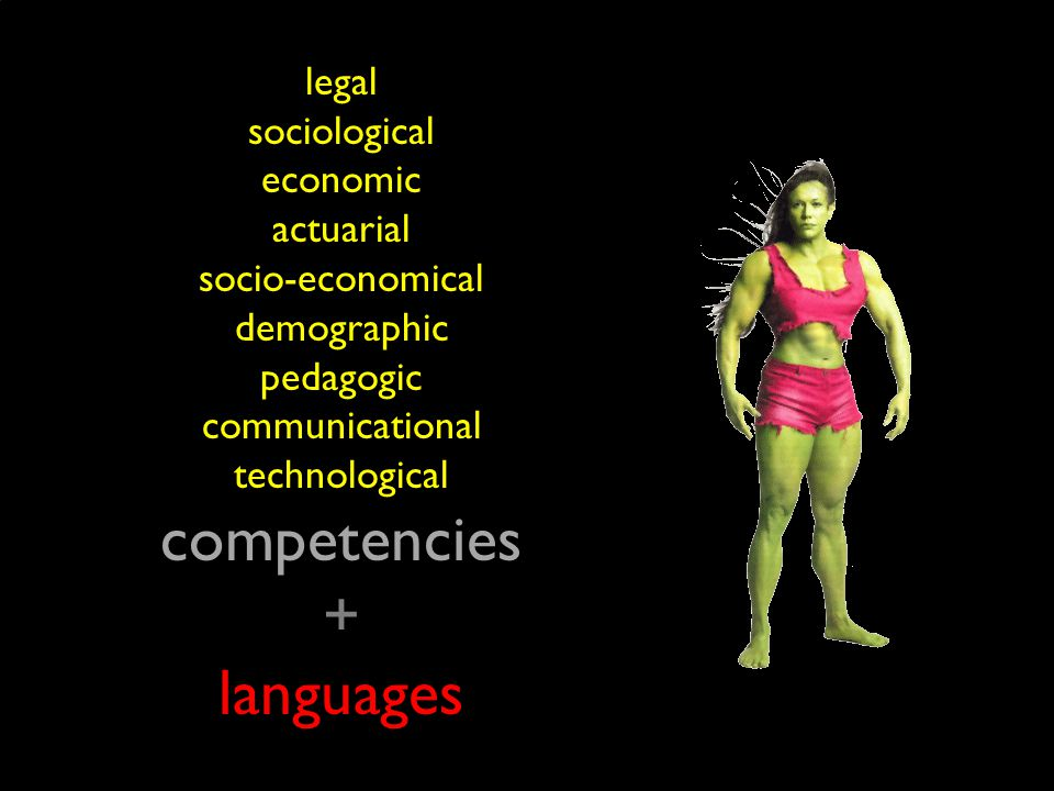 legal sociological economic actuarial socio-economical demographic pedagogic communicational technological competencies + languages
