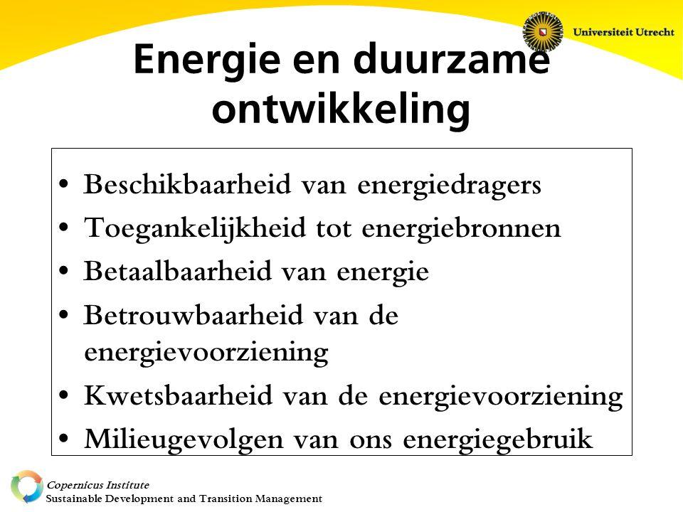 Copernicus Institute Sustainable Development and Transition Management Energie en duurzame ontwikkeling Beschikbaarheid van energiedragers Toegankelijkheid tot energiebronnen Betaalbaarheid van energie Betrouwbaarheid van de energievoorziening Kwetsbaarheid van de energievoorziening Milieugevolgen van ons energiegebruik