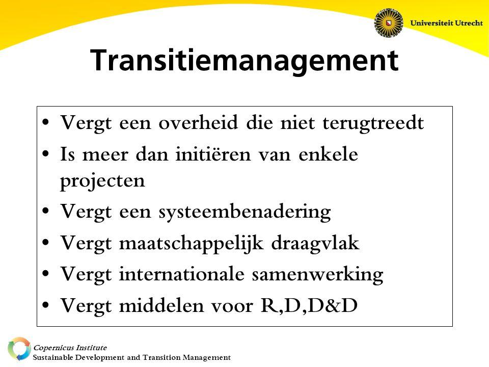 Copernicus Institute Sustainable Development and Transition Management Transitiemanagement Vergt een overheid die niet terugtreedt Is meer dan initiëren van enkele projecten Vergt een systeembenadering Vergt maatschappelijk draagvlak Vergt internationale samenwerking Vergt middelen voor R,D,D&D