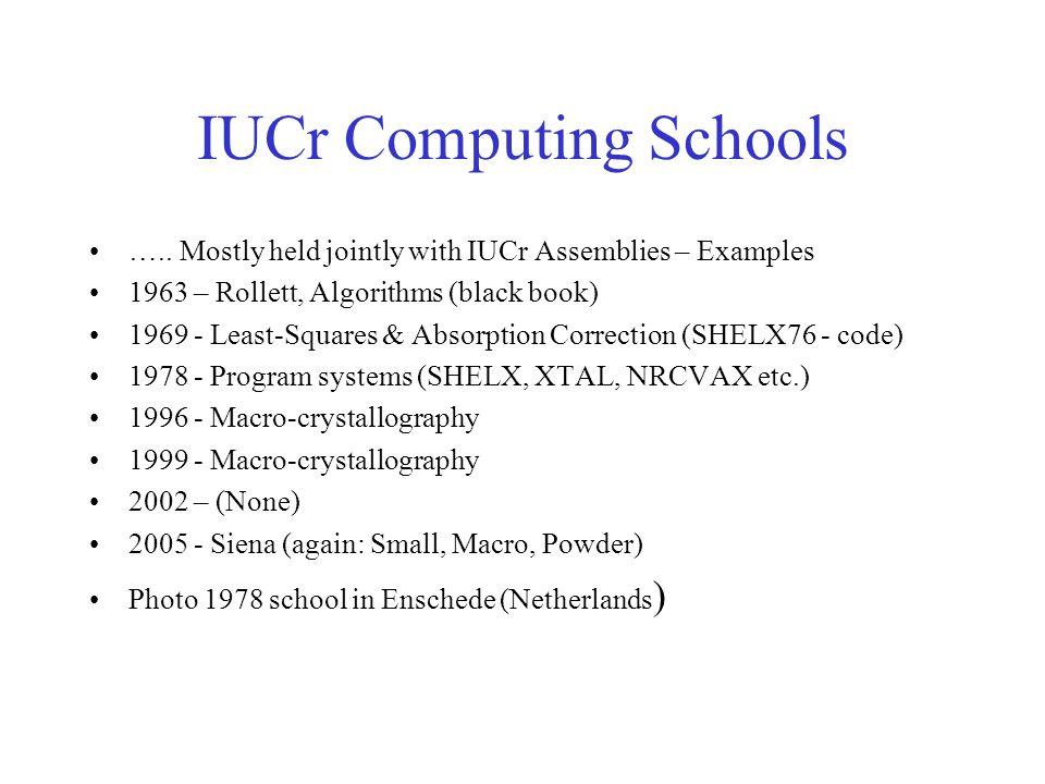 IUCr Computing Schools …..
