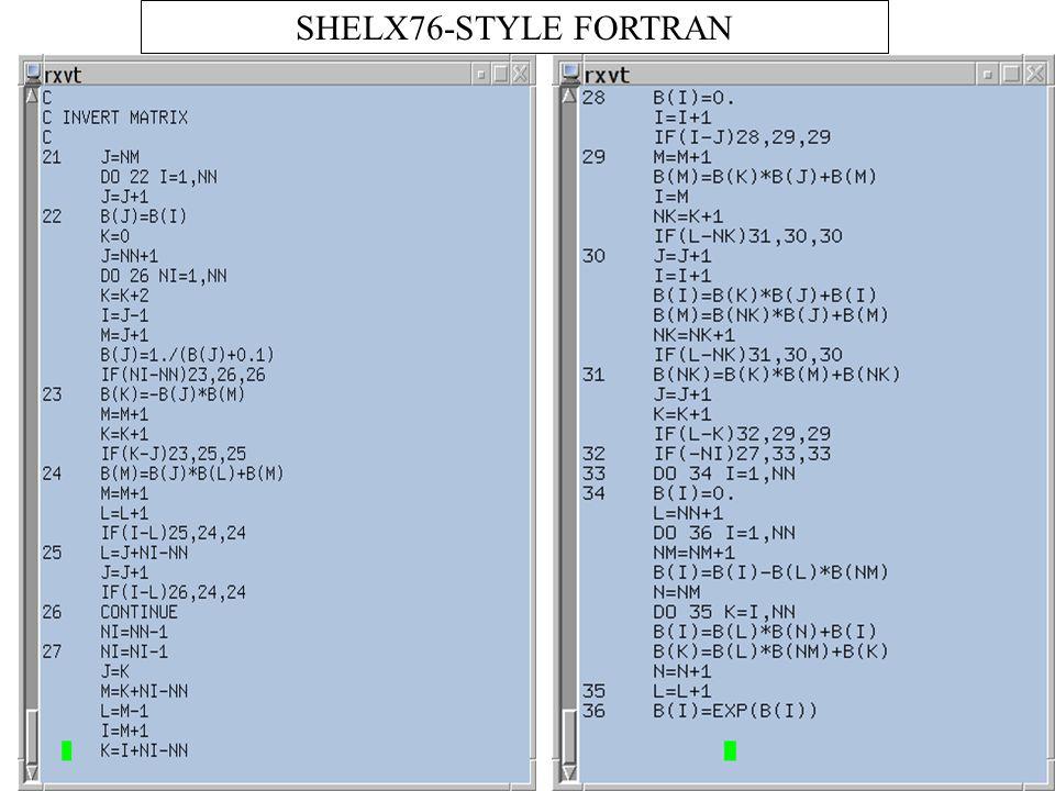 SHELX76-STYLE FORTRAN