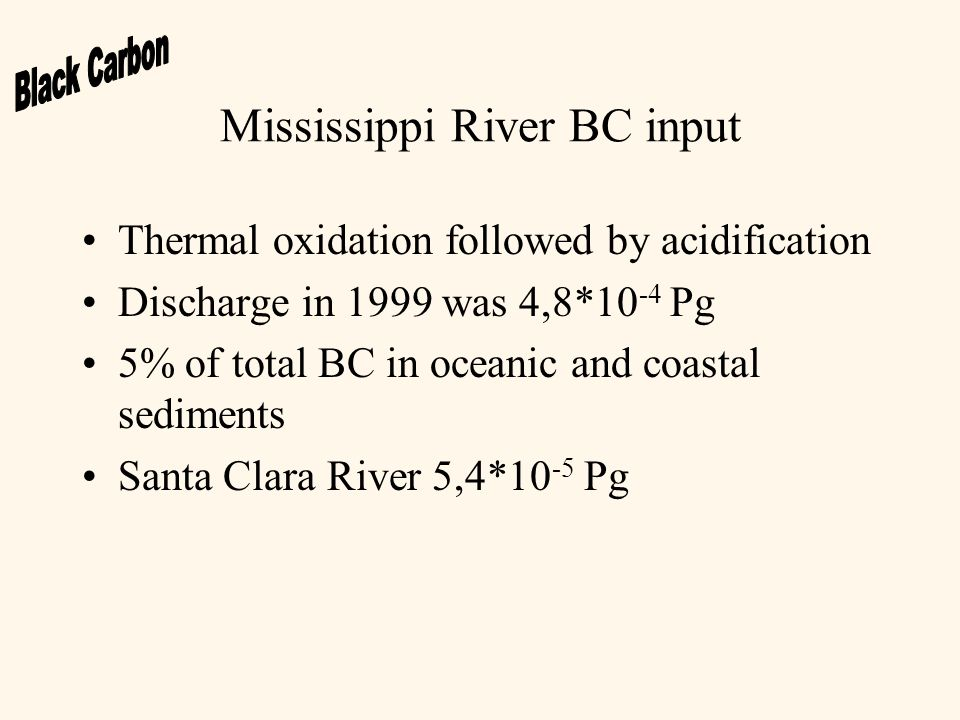 Mississippi River BC input Thermal oxidation followed by acidification Discharge in 1999 was 4,8*10 -4 Pg 5% of total BC in oceanic and coastal sediments Santa Clara River 5,4*10 -5 Pg