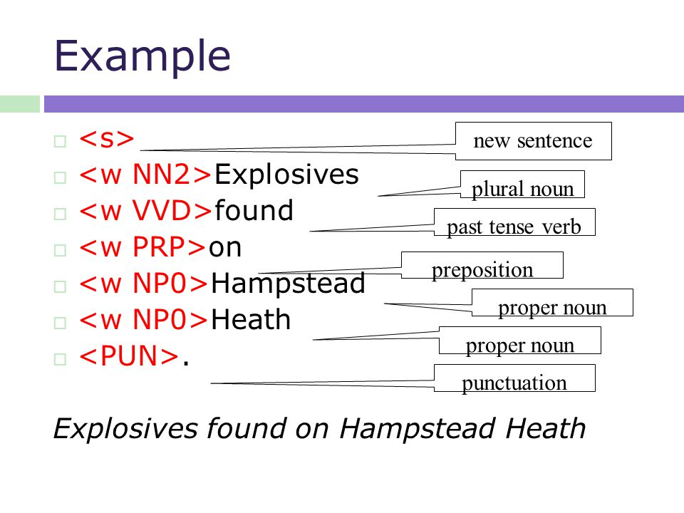 Example   Explosives  found  on  Hampstead  Heath .