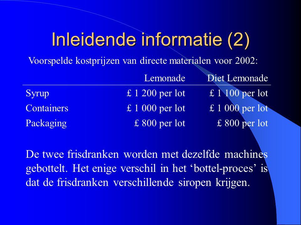 Inleidende informatie (2) LemonadeDiet Lemonade Syrup£ 1 200 per lot£ 1 100 per lot Containers£ 1 000 per lot Packaging£ 800 per lot Voorspelde kostpr