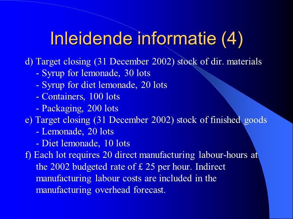 Inleidende informatie (4) d) Target closing (31 December 2002) stock of dir. materials - Syrup for lemonade, 30 lots - Syrup for diet lemonade, 20 lot