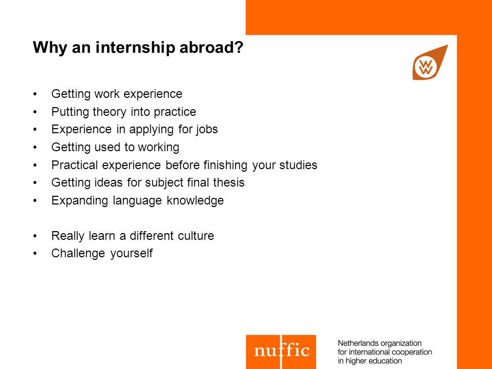 Why an internship abroad.
