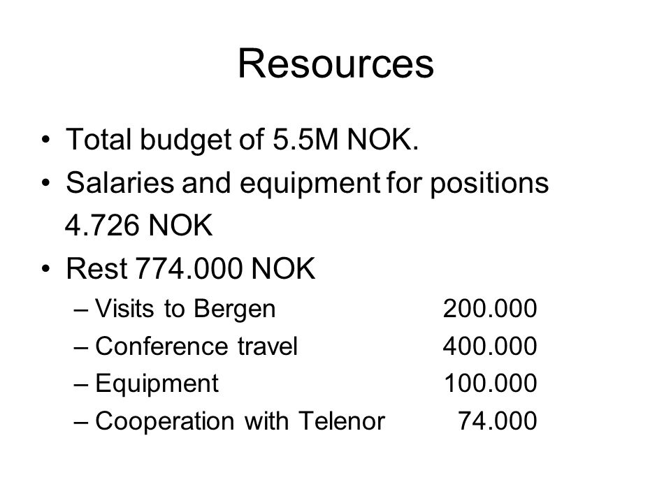 Resources Total budget of 5.5M NOK. Salaries and equipment for positions 4.726 NOK Rest 774.000 NOK –Visits to Bergen 200.000 –Conference travel 400.0