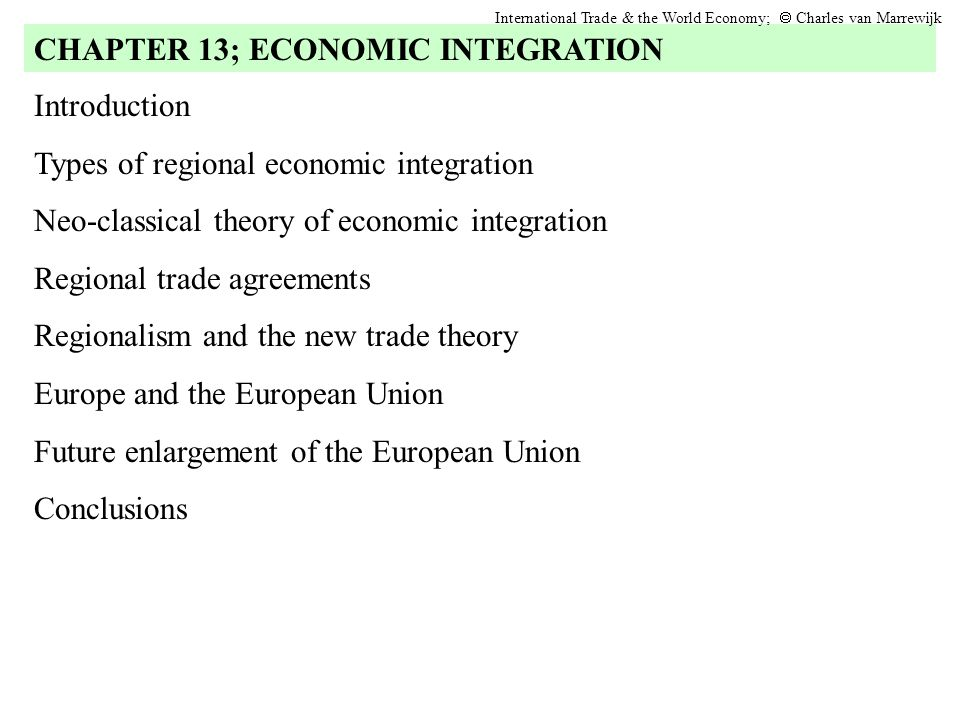 Future enlargement of the European Union International Trade & the World Economy;  Charles van Marrewijk