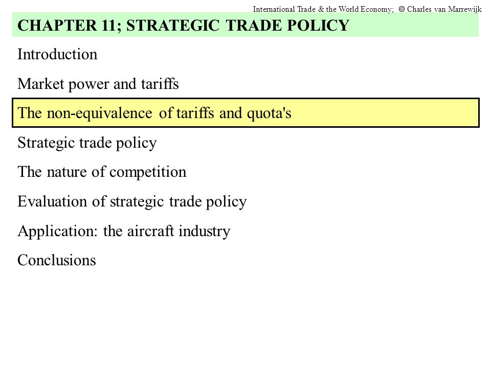 The non-equivalence of tariffs and quota s International Trade & the World Economy;  Charles van Marrewijk