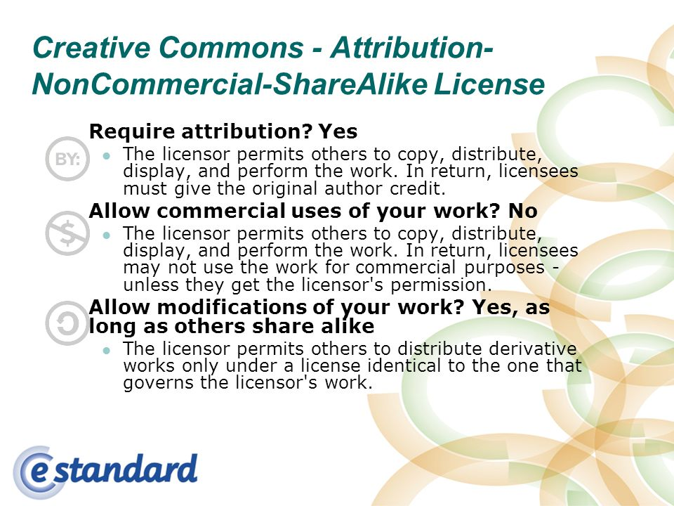 Creative Commons - Attribution- NonCommercial-ShareAlike License Require attribution.