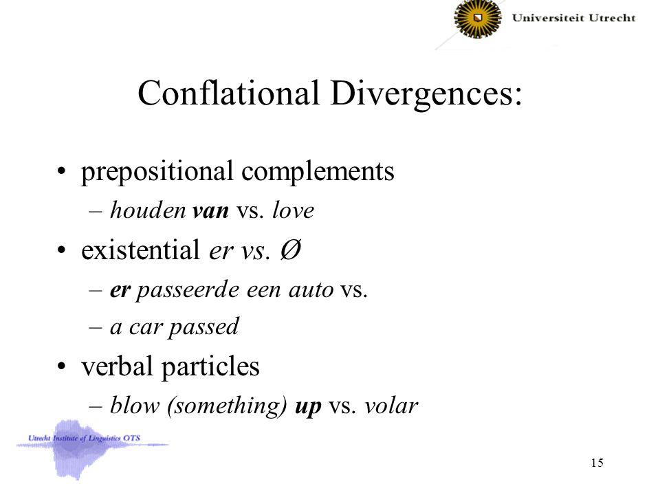Conflational Divergences: prepositional complements –houden van vs. love existential er vs. Ø –er passeerde een auto vs. –a car passed verbal particle