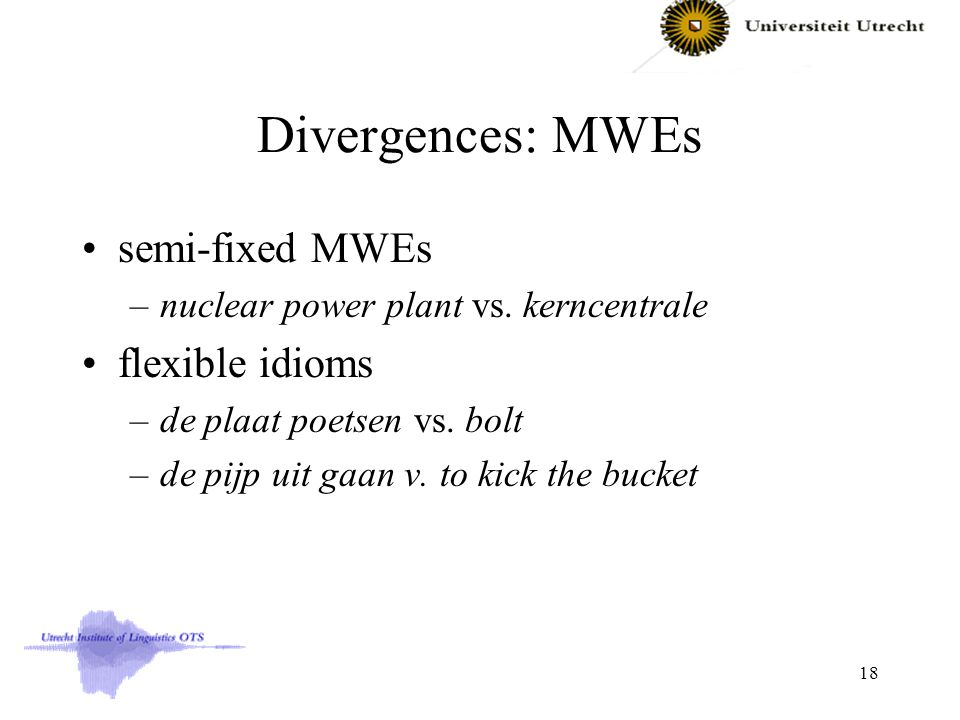 Divergences: MWEs semi-fixed MWEs –nuclear power plant vs.