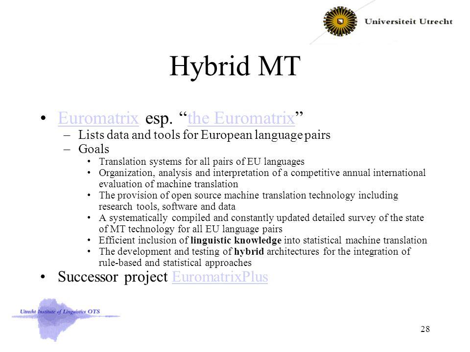 "Hybrid MT Euromatrix esp. ""the Euromatrix""Euromatrixthe Euromatrix –Lists data and tools for European language pairs –Goals Translation systems for al"