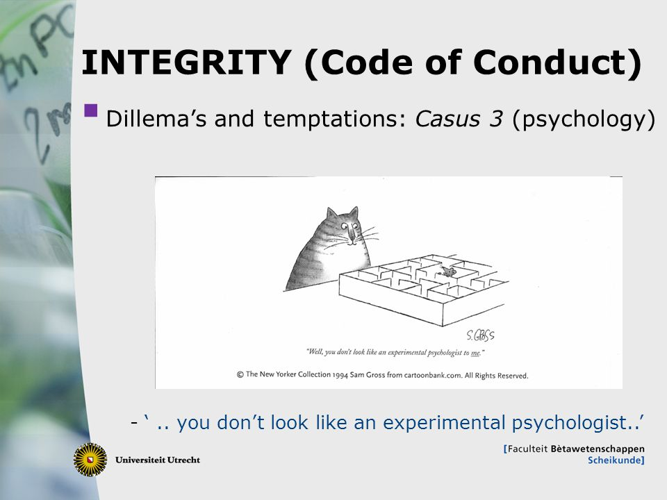 12 INTEGRITY (Code of Conduct)  Dillema's and temptations: Casus 3 (psychology) - '..