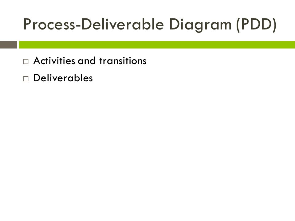 Process-Deliverable Diagram (PDD)  Activities and transitions  Deliverables