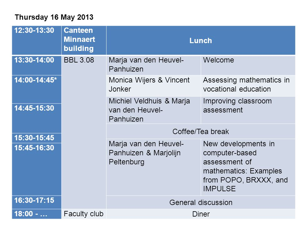 Friday 17 May 2013 09:00-09:30BBL 3.08Floor ScheltensWelcome 09:30-10:30**Floor ScheltensNational Assessment and Standard Setting – Primary School 10:30-10:45 Coffee/Tea break 10:45-11:45Harco WeeminkArithmetic Test for Secondary Education and Standard Setting 11:45-12:30 General discussion 13:00 -Canteen Minnaert building Lunch