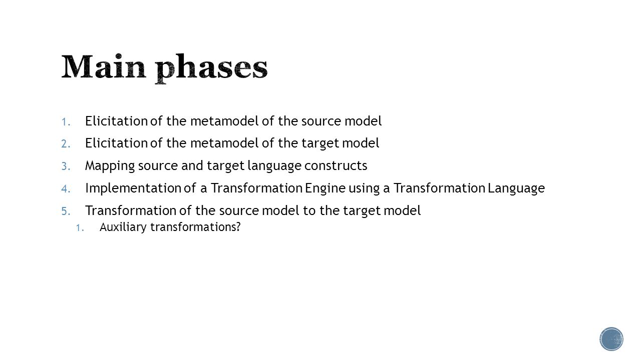 1. Elicitation of the metamodel of the source model 2.