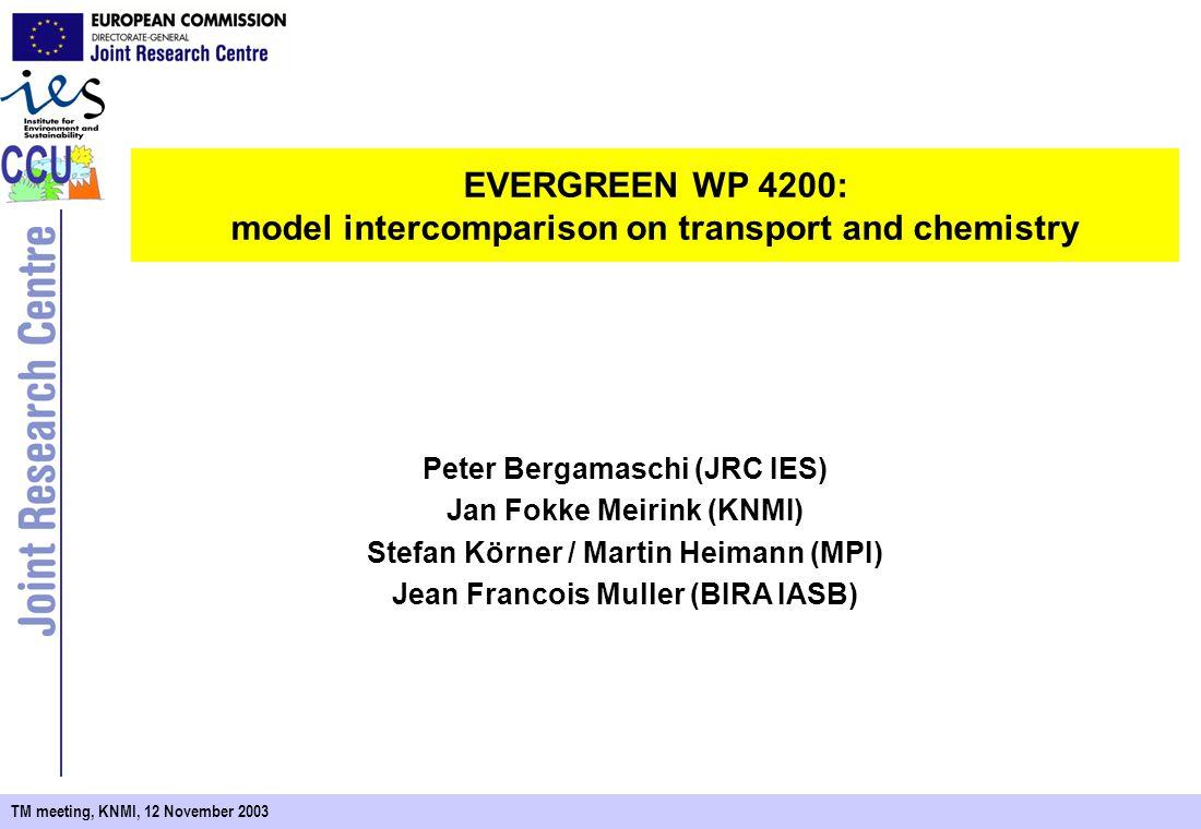 TM meeting, KNMI, 12 November 2003 EVERGREEN WP 4200: model intercomparison on transport and chemistry Peter Bergamaschi (JRC IES) Jan Fokke Meirink (KNMI) Stefan Körner / Martin Heimann (MPI) Jean Francois Muller (BIRA IASB)