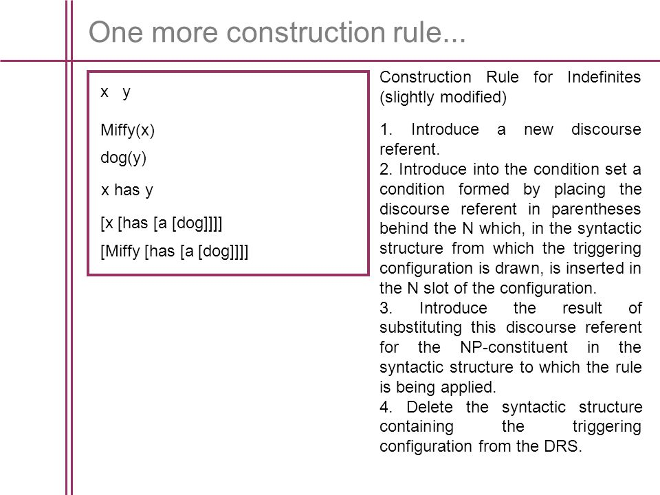 One more construction rule... Construction Rule for Indefinites (slightly modified) 1.