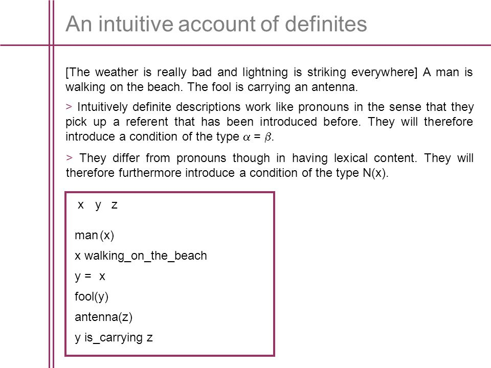 An intuitive account of definites [The weather is really bad and lightning is striking everywhere] A man is walking on the beach.
