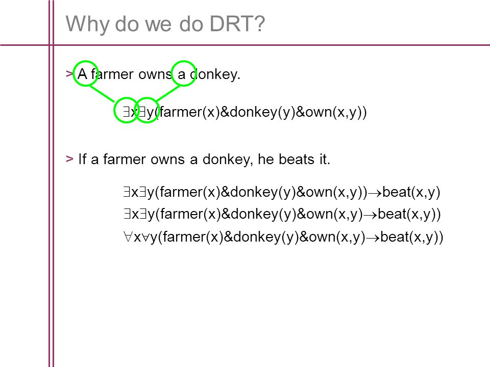 Why do we do DRT. > A farmer owns a donkey.
