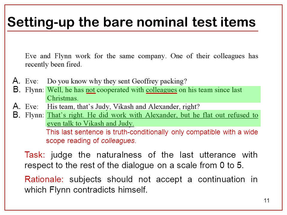 11 Setting-up the bare nominal test items A. B. A.