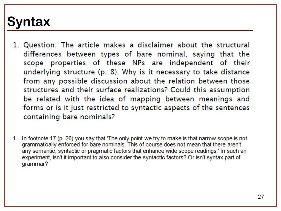 27 Syntax