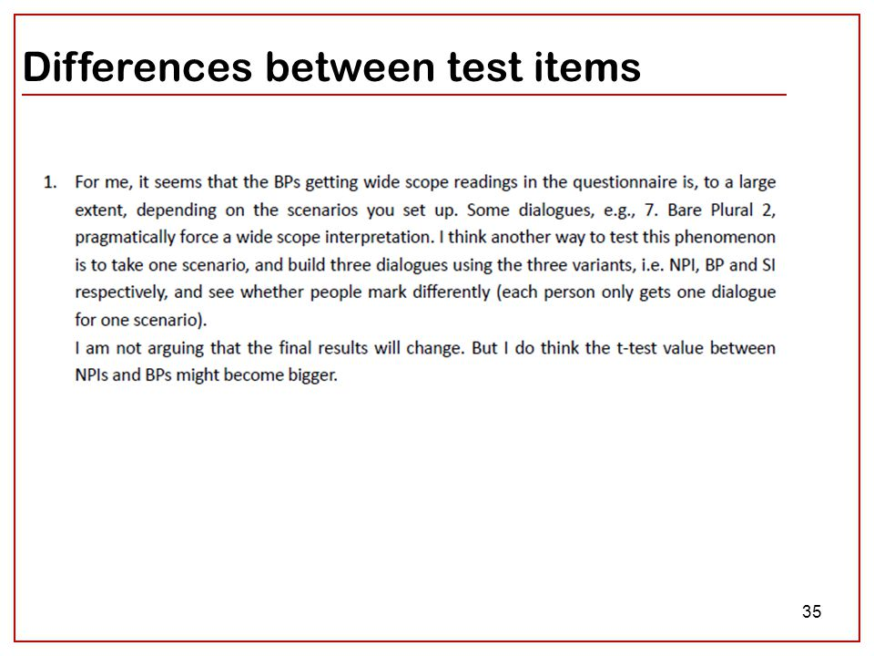 35 Differences between test items