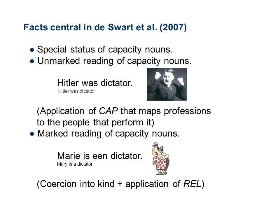 Facts central in de Swart et al. (2007) ● Special status of capacity nouns.