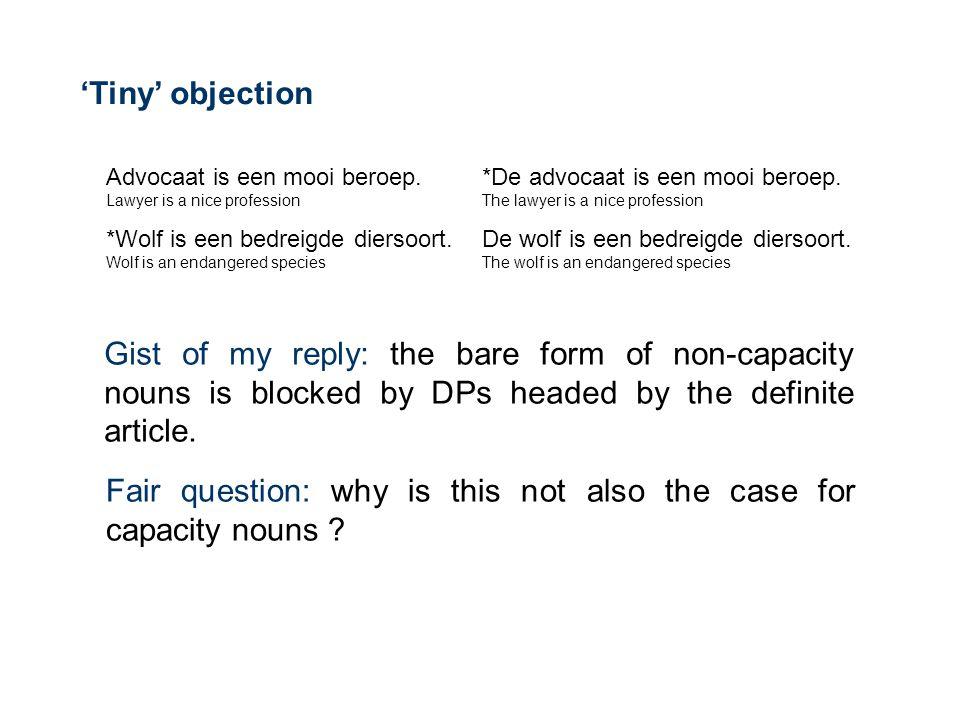'Tiny' objection Advocaat is een mooi beroep.