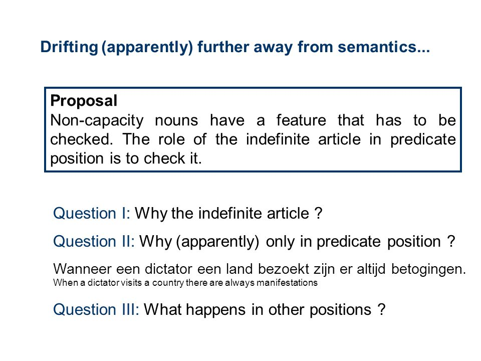 Drifting (apparently) further away from semantics... Proposal Non-capacity nouns have a feature that has to be checked. The role of the indefinite art