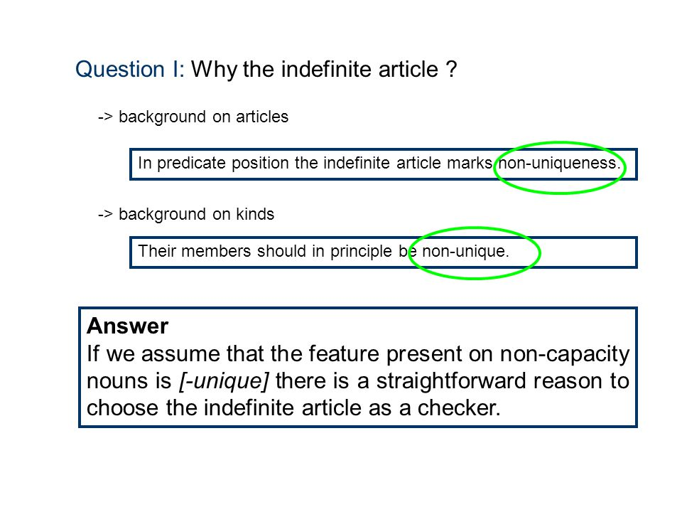 Question I: Why the indefinite article .