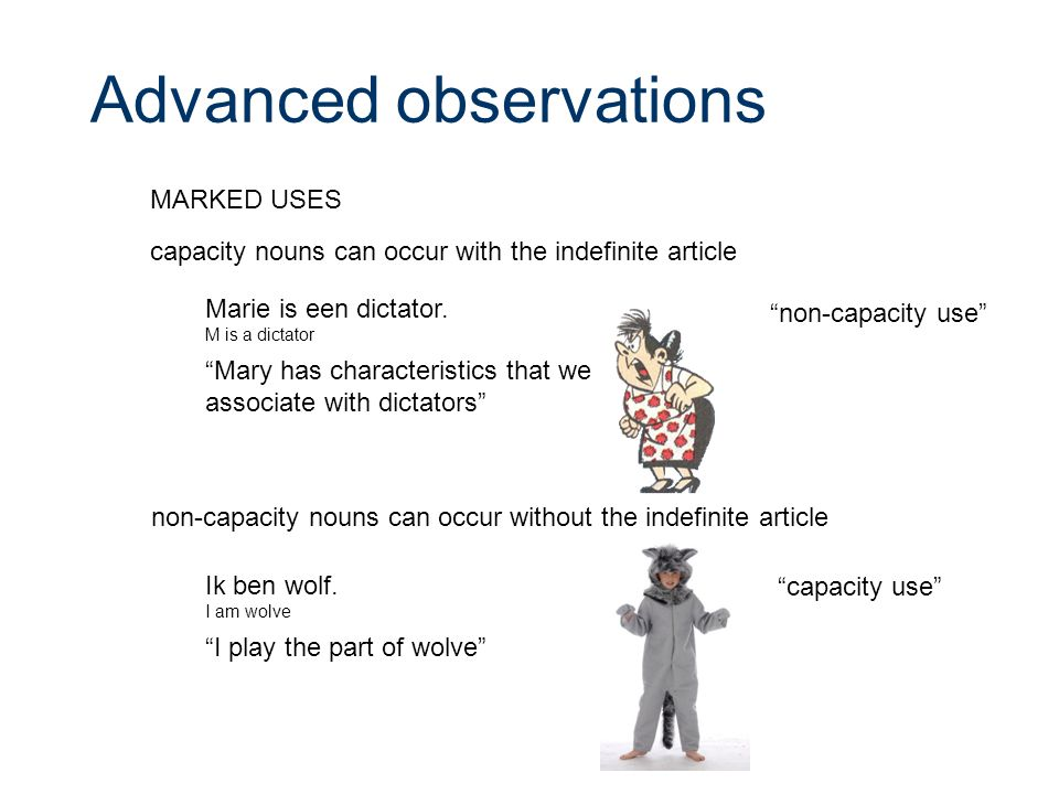 Advanced observations capacity nouns can occur with the indefinite article Marie is een dictator.