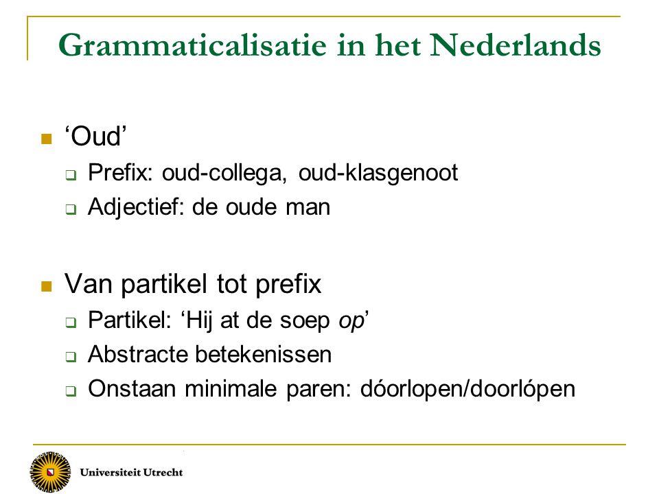 Grammaticalisatie in het Nederlands 'Oud'  Prefix: oud-collega, oud-klasgenoot  Adjectief: de oude man Van partikel tot prefix  Partikel: 'Hij at d