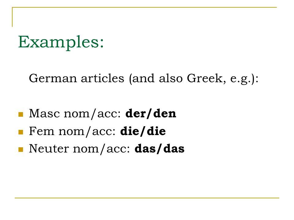 Examples: German articles (and also Greek, e.g.): Masc nom/acc: der/den Fem nom/acc: die/die Neuter nom/acc: das/das