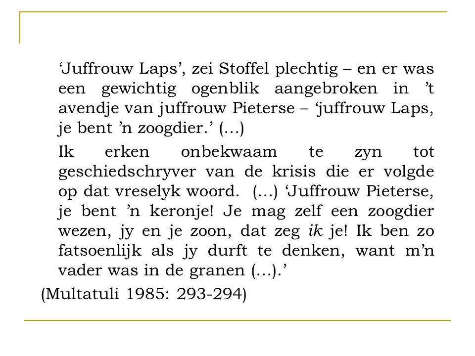 'Juffrouw Laps', zei Stoffel plechtig – en er was een gewichtig ogenblik aangebroken in 't avendje van juffrouw Pieterse – 'juffrouw Laps, je bent 'n zoogdier.' (…) Ik erken onbekwaam te zyn tot geschiedschryver van de krisis die er volgde op dat vreselyk woord.