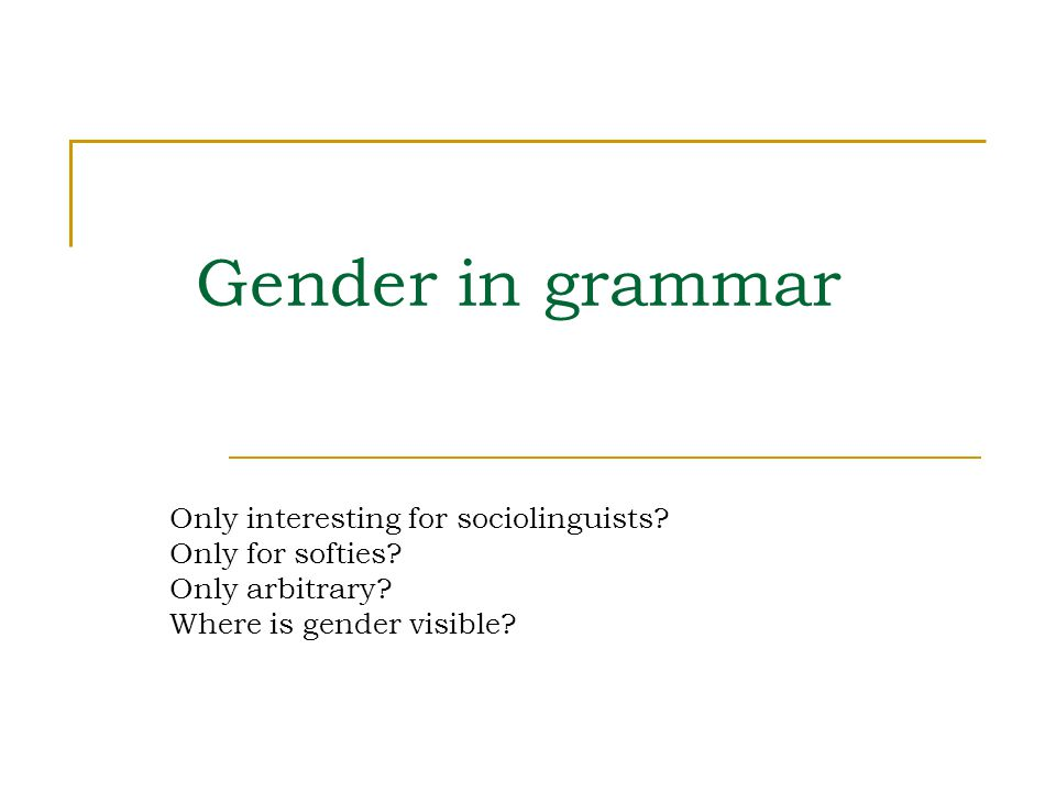 Gender in grammar Only interesting for sociolinguists? Only for softies? Only arbitrary? Where is gender visible?