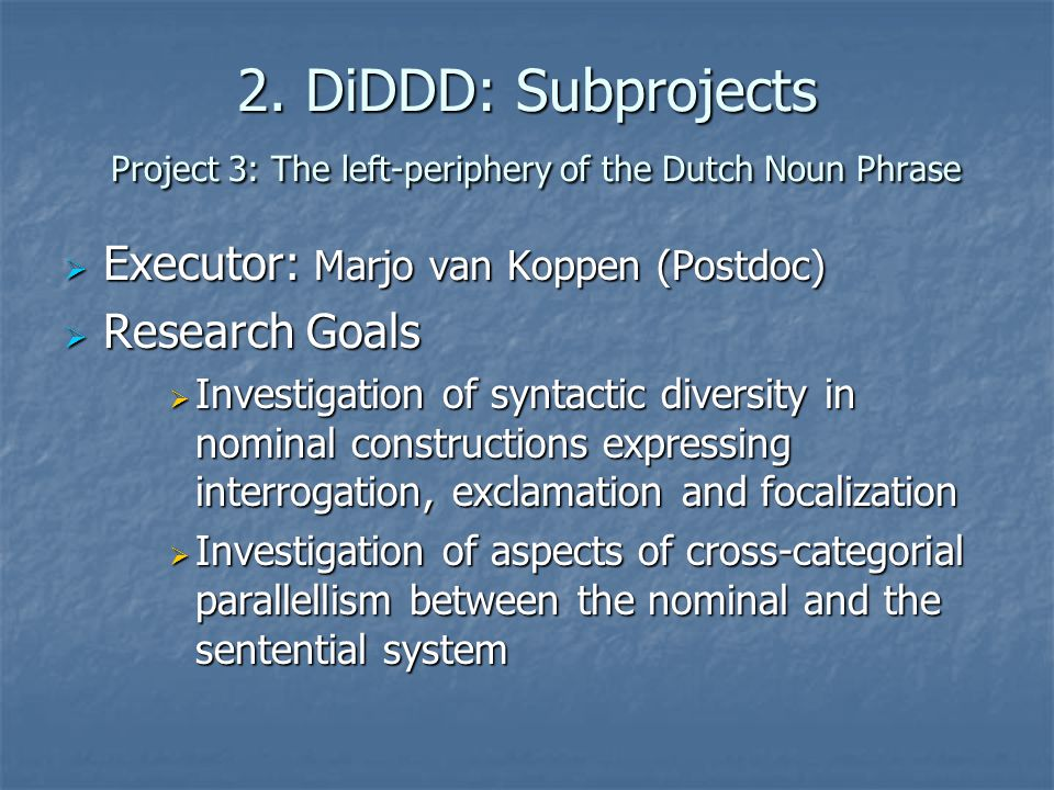 2. DiDDD: Subprojects Project 3: The left-periphery of the Dutch Noun Phrase  Executor: Marjo van Koppen (Postdoc)  Research Goals  Investigation o