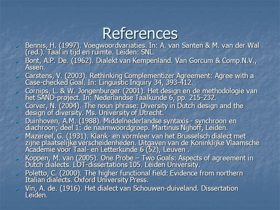 References  Bennis, H. (1997). Voegwoordvariaties. In: A. van Santen & M. van der Wal (red.). Taal in tijd en ruimte. Leiden: SNL.  Bont, A.P. De. (