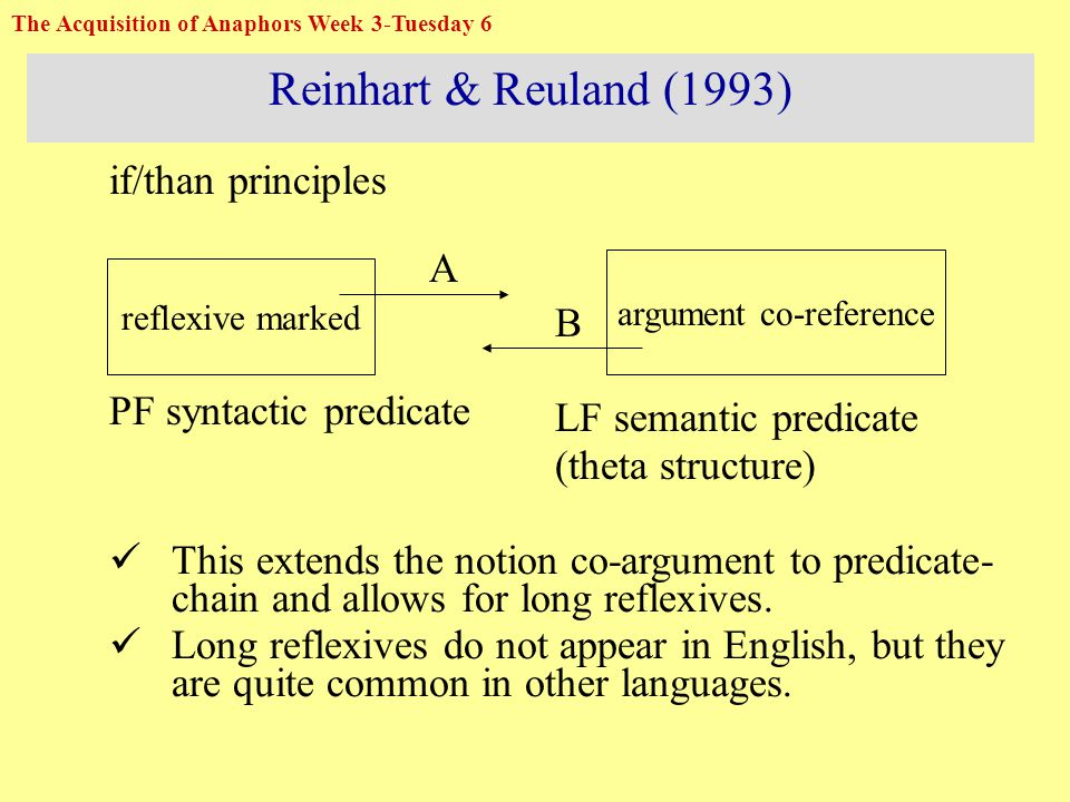 Reinhart & Reuland (1993) if/than principles A PF syntactic predicate B LF semantic predicate (theta structure) This extends the notion co-argument to predicate- chain and allows for long reflexives.