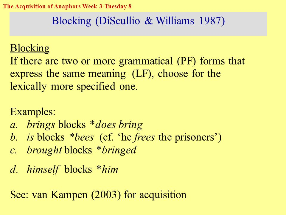 Blocking (DiScullio & Williams 1987) Blocking If there are two or more grammatical (PF) forms that express the same meaning (LF), choose for the lexically more specified one.