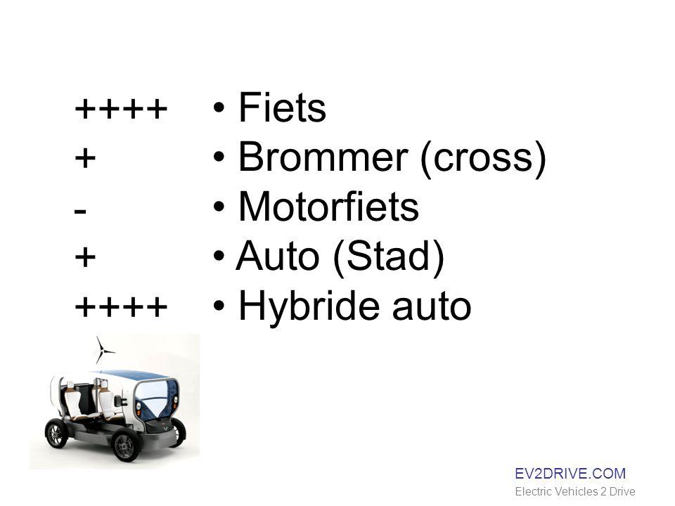 EV2DRIVE.COM Electric Vehicles 2 Drive Fiets Brommer (cross) Motorfiets Auto (Stad) Hybride auto ++++ + - + ++++