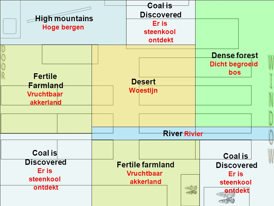 Coal is Discovered Er is steenkool ontdekt Coal is Discovered Er is steenkool ontdekt Coal is Discovered Er is steenkool ontdekt Fertile Farmland Vruchtbaar akkerland River Rivier Fertile farmland Vruchtbaar akkerland Dense forest Dicht begroeid bos High mountains Hoge bergen Desert Woestijn