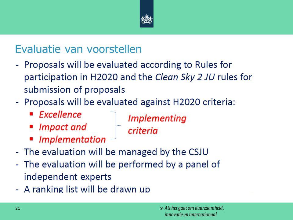 Evaluatie van voorstellen 21